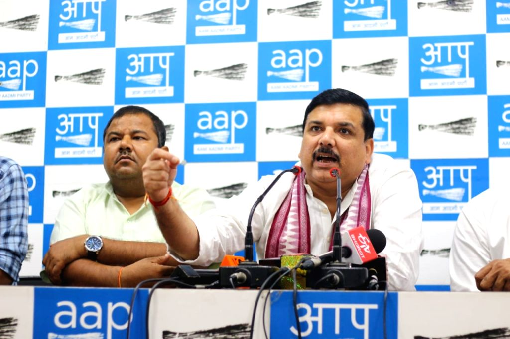 AAP MP Sanjay Singh addresses a press conference in New Delhi on Oct 9, 2019. - Sanjay Singh