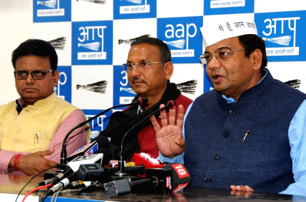 AAP MP Sushil Gupta addresses a press conference in New Delhi, on March 14, 2019. - Sushil Gupta