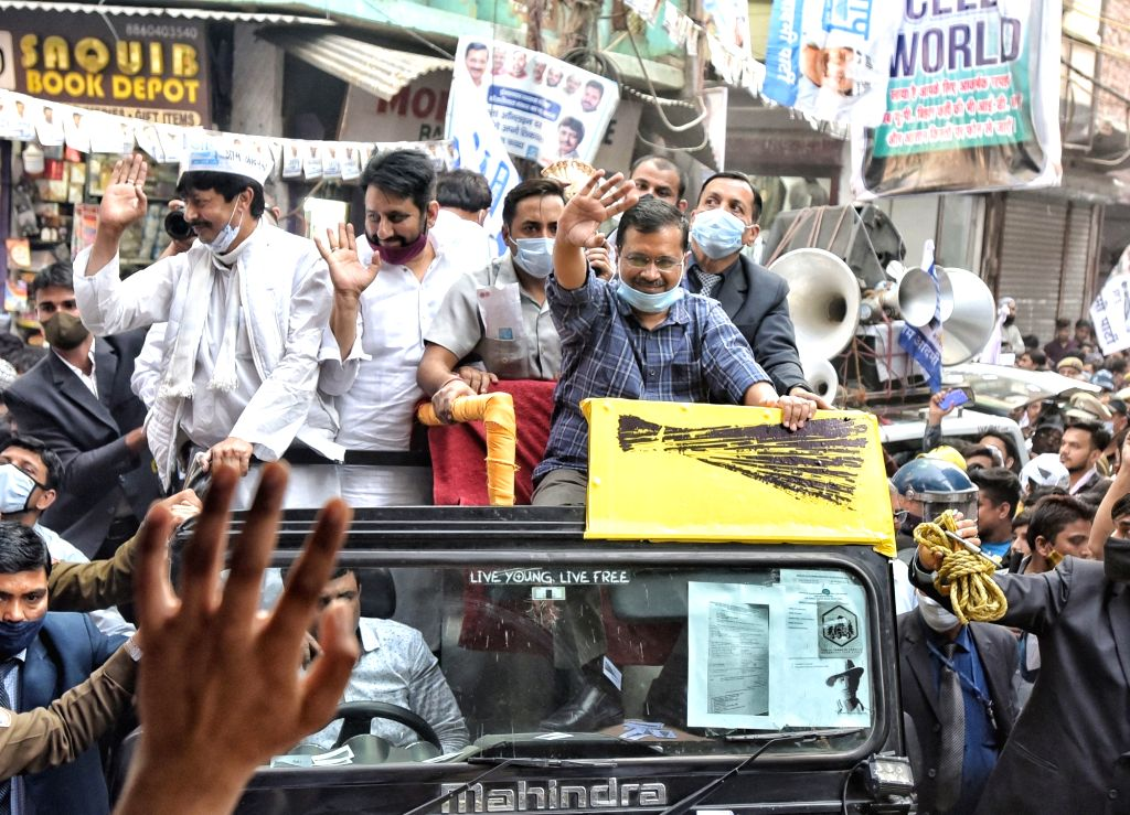 AAP National Convener and Delhi Chief Minister Arvind Kejriwal  hold the Road show for election campaign councilors  at Seelampur, in North East Delhi, India on Thursday 25th February 2021. - Arvind Kejriwal
