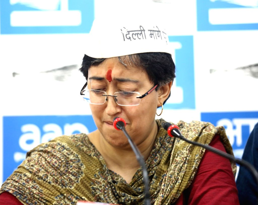 AAP's Lok Sabha candidate from East Delhi Atishi Marlena breaks down while addressing a press conference, in New Delhi on May 9, 2019. Atishi on Thursday broke down at the press conference ...
