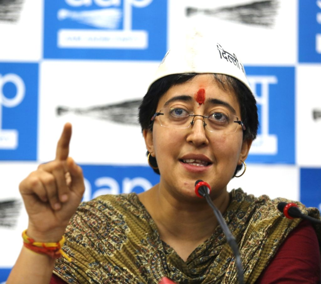 AAP's Lok Sabha candidate from East Delhi Atishi Marlena, addresses a press conference, in New Delhi on May 9, 2019. Atishi on Thursday broke down at the press conference where she and her ...