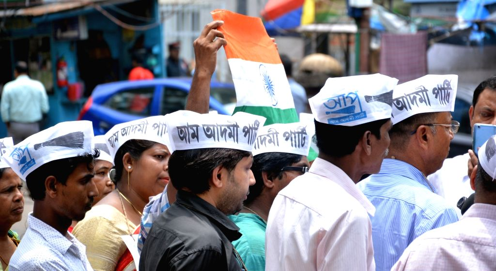 AAP workers stage a demonstration over NRC in Assam, in Kolkata, on Aug 3, 2018.