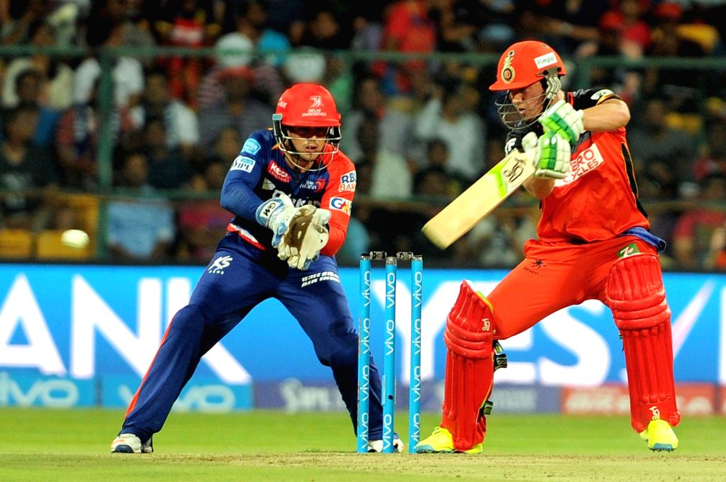 AB de Villiers of of Royal Challengers Bangalore in action during an IPL match between Royal Challengers Bangalore and Delhi Daredevils at M Chinnaswamy Stadium in Bengaluru, on April 17, ...