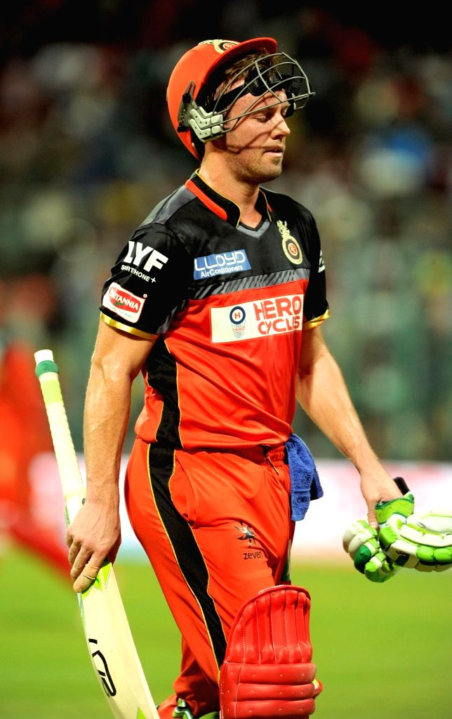 AB de Villiers of of Royal Challengers Bangalore after getting dismissed during an IPL match between Royal Challengers Bangalore and Delhi Daredevils at M Chinnaswamy Stadium in Bengaluru, ...
