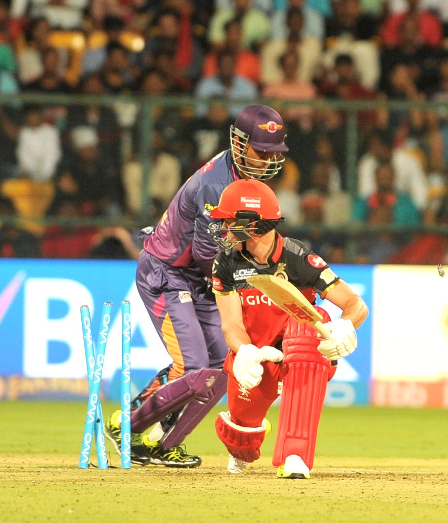 AB de Villiers of Royal Challengers Bangalore gets dismissed during an IPL 2017 match between Royal Challengers Bangalore and Rising Pune Supergiant at M Chinnaswamy Stadium in Bengaluru ...