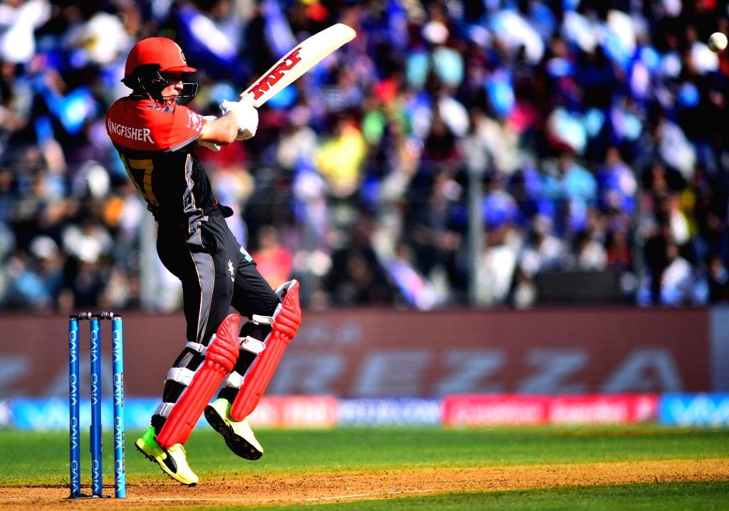 AB de Villiers of Royal Challengers Bangalore plays a shot during an IPL 2017 match between Mumbai Indians and Royal Challengers Bangalore at at Wankhede Stadium in Mumbai on May 1, 2017.