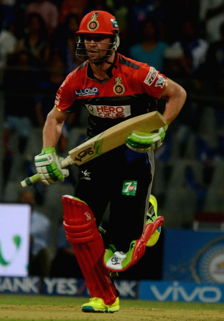 AB de Villiers of Royal Challengers Bangalore in action during an IPL match between  Mumbai Indians and Royal Challengers Bangalore at Wankhede Stadium in Mumbai on April 20, 2016.