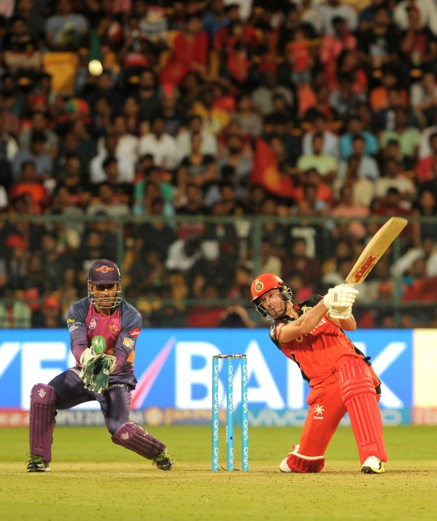 AB de Villiers of Royal Challengers Bangalore in action during an IPL 2017 match between Royal Challengers Bangalore and Rising Pune Supergiant at M Chinnaswamy Stadium in Bengaluru on ...