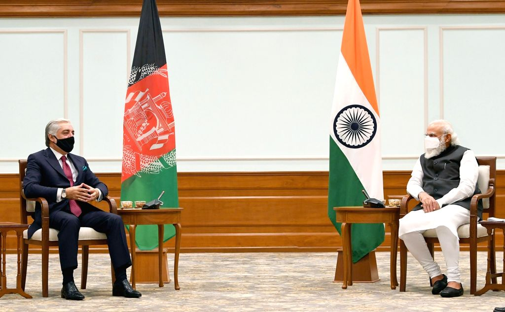 Abdullah Abdullah, Chairman of Afghanistan's High Council for National Reconciliation and also a top peace negotiator with the Taliban, meets Prime Minister Narendra Modi, in New Delhi on ... - Narendra Modi