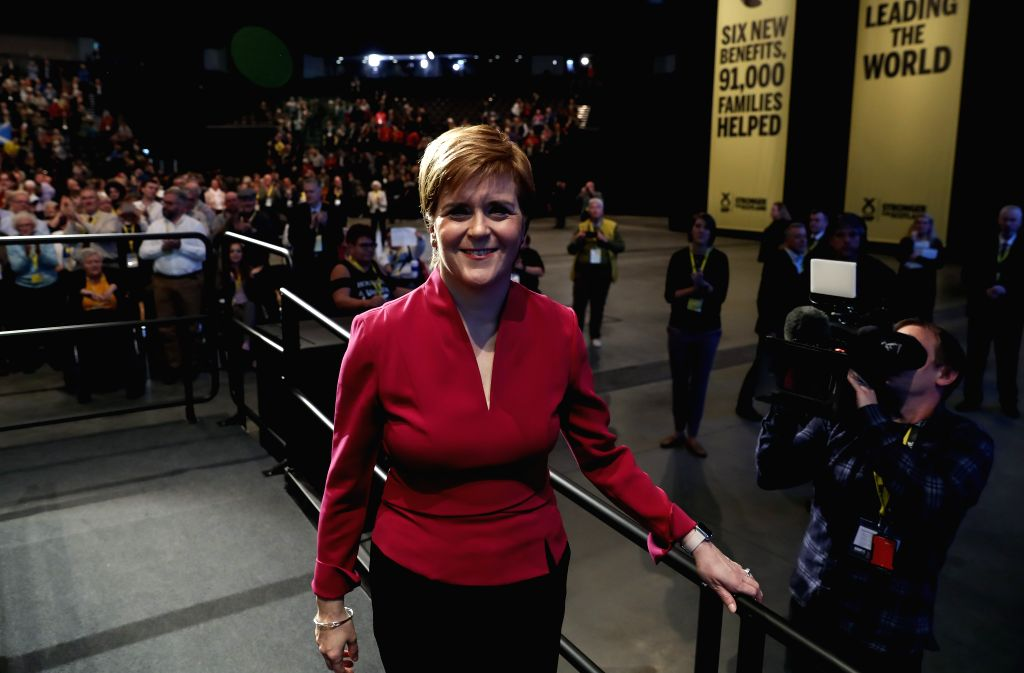 ABERDEEN, Oct. 16, 2019 - Scotland's First Minister and the Scottish National Party (SNP) leader Nicola Sturgeon gestures after her speech at the SNP annual conference 2019 in Aberdeen, Scotland, ...