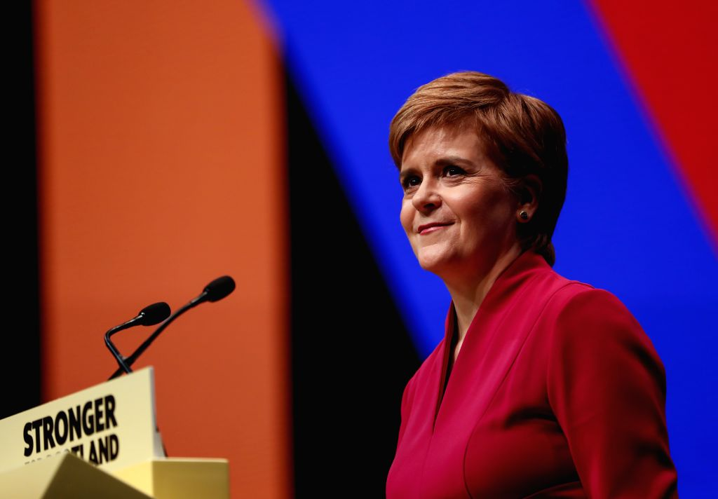 ABERDEEN, Oct. 16, 2019 - Scotland's First Minister and the Scottish National Party (SNP) leader Nicola Sturgeon gives a speech at the SNP annual conference 2019 in Aberdeen, Scotland, Britain on ...