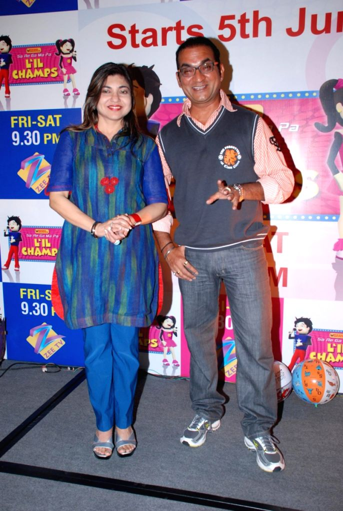 "Abhijeet and Alka Yagnik at ""Saregama Lil Champs"" press meet."