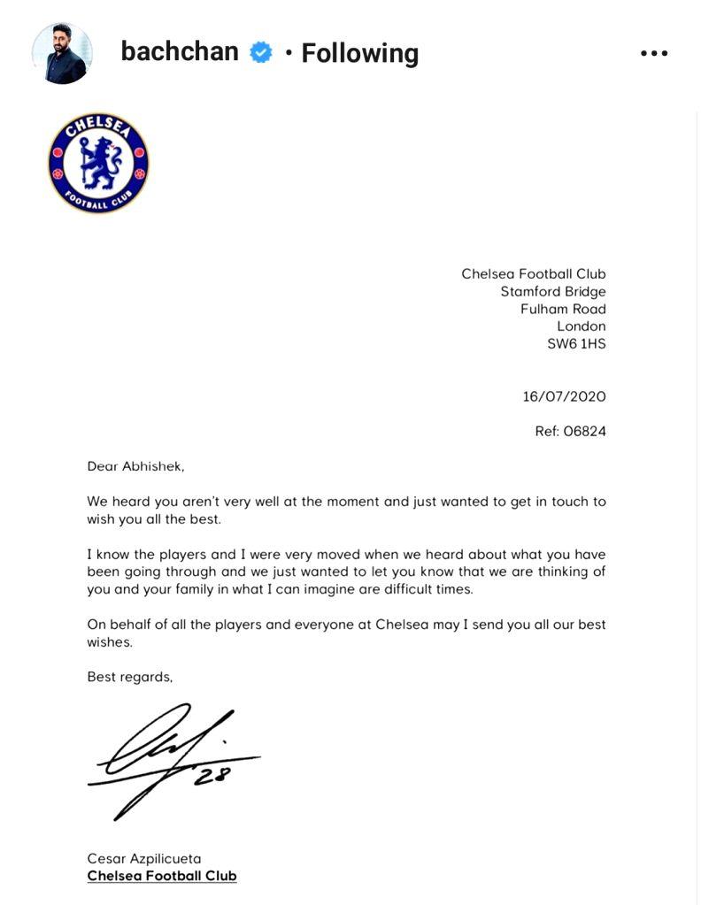 Abhishek Bachchan shares letter from Chelsea footballer Cesar Azpilicueta - Abhishek Bachchan