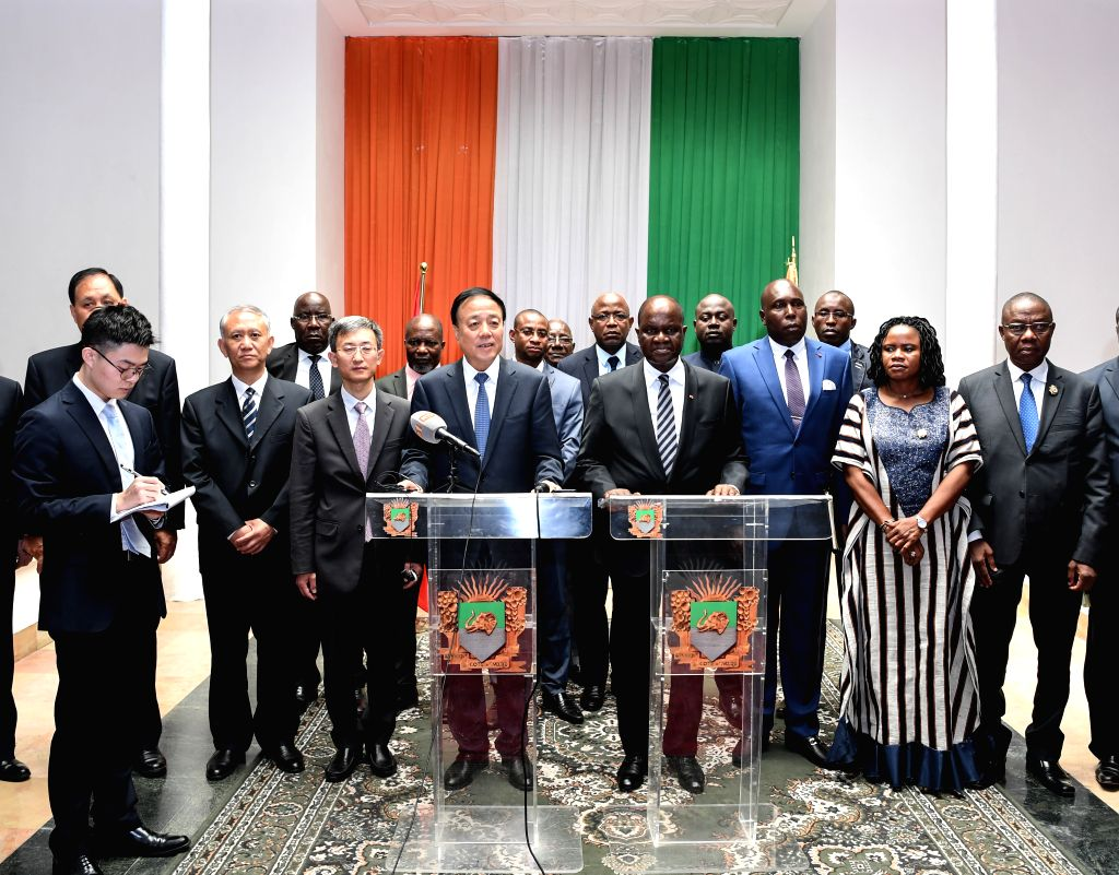ABIDJAN, Nov. 15, 2019 - Amadou Soumahoro (C-R), speaker of the National Assembly of Cote d'Ivoire, and Wu Weihua (C-L), vice chairman of China's National People's Congress Standing Committee, attend ...