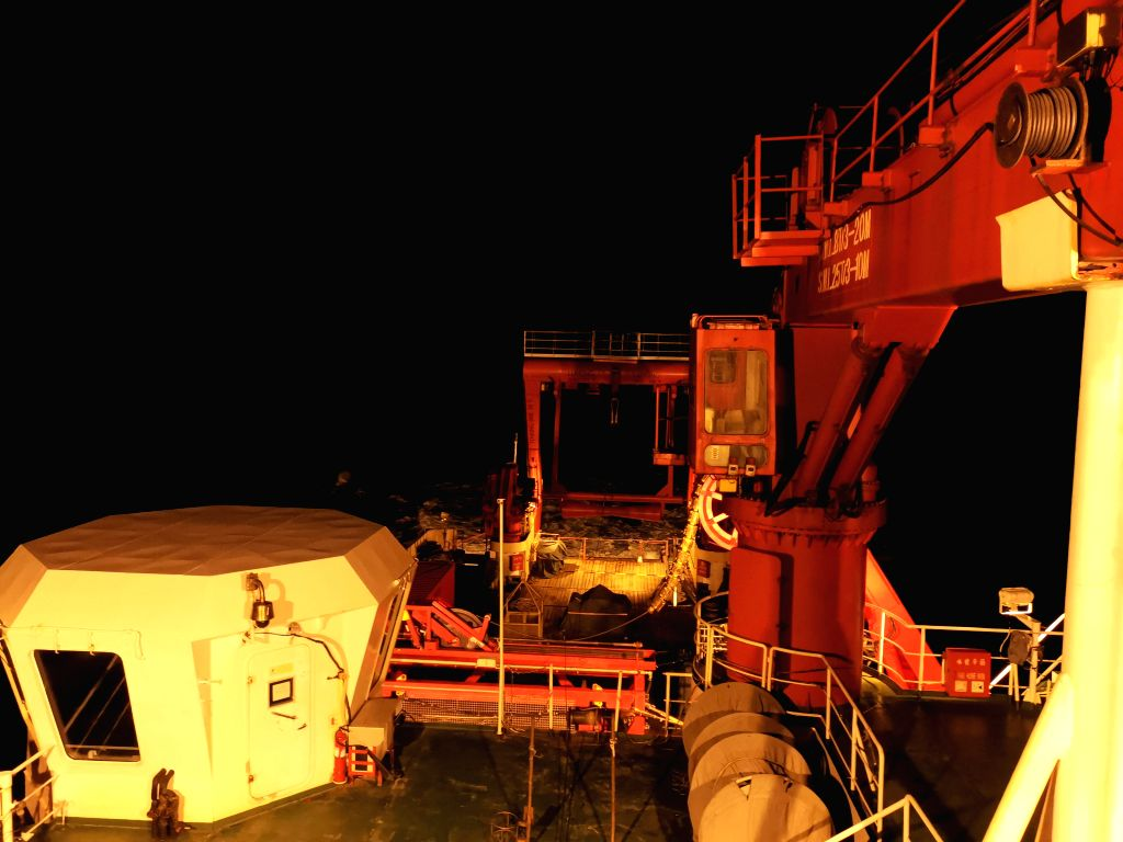 ABOARD KEXUE, June 15, 2019 - China's research vessel KEXUE (Science) sails at night in western Pacific Ocean on June 15, 2019. China's research vessel KEXUE (Science) finished its investigation of ...