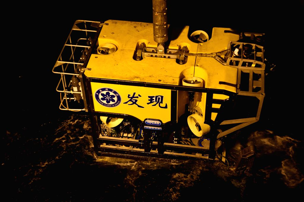 ABOARD KEXUE, June 15, 2019 - Photo taken on June 15, 2019 shows Discovery, a remote operated vehicle aboard KEXUE, returning from the sea in western Pacific Ocean. China's research vessel KEXUE ...