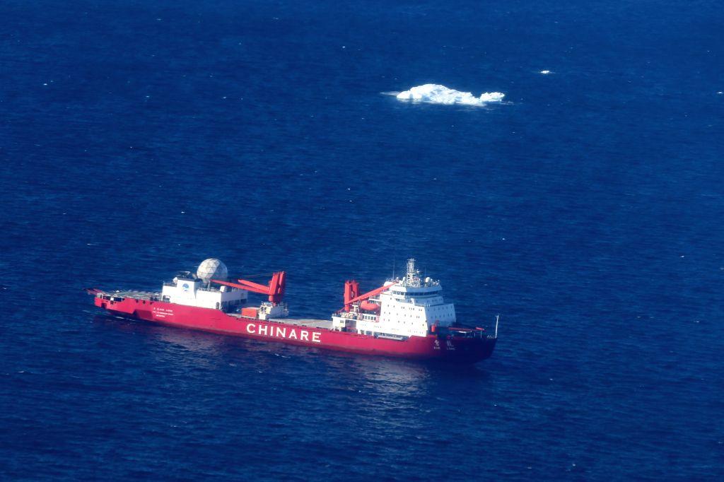 ABOARD XUELONG, Feb. 15, 2019 - China's research icebreaker Xuelong is seen near the Zhongshan Station, Feb. 14, 2019. China's research icebreaker Xuelong, with 126 crew members aboard on the 35th ...