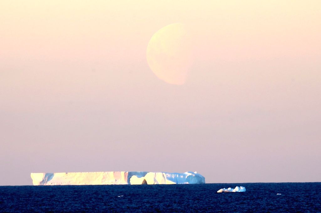 ABOARD XUELONG, Feb. 18, 2019 - Photo taken on Feb. 14, 2019 shows an iceberg on the sea near the Zhongshan Station, a Chinese research base in Antarctica. The Zhongshan Station was set up in ...