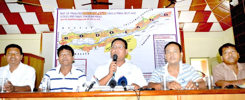 ABSU President Pramod Boro and other members addressing the media after the lapse of their deadline given to the Chief Minister for declaring their stand on separate state of Bodoland in Kokrajhar ...