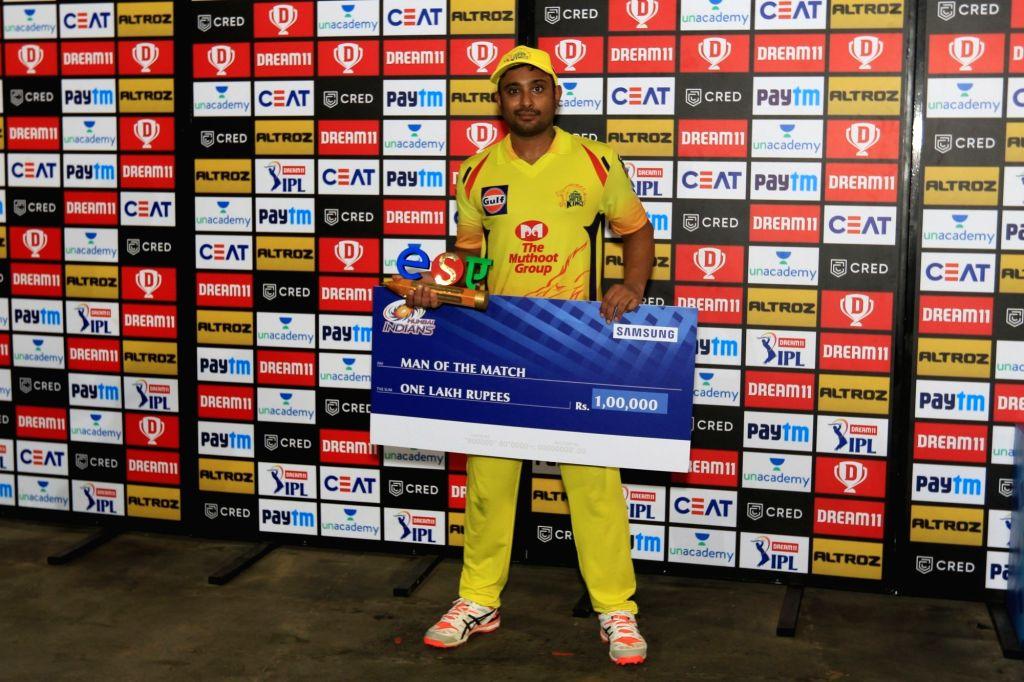 Abu Dhabi: Ambati Rayudu of Chennai Super kings receives man of the match award during match 1 of season 13 Dream 11 of Indian Premier League (IPL) held at the Sheikh Zayed Stadium, Abu Dhabi  in the ...