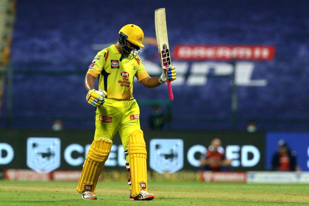 Abu Dhabi: Ambati Rayudu of Chennai Superkings raises his bat after scoring a fifty during match 1 of season 13 of the Dream 11 Indian Premier League (IPL) between the Mumbai Indians and the Chennai ...