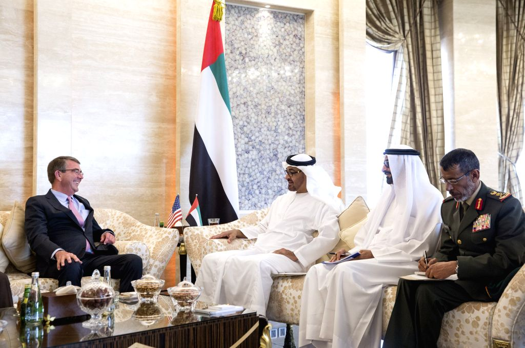 ABU DHABI, April 20, 2016 - Sheikh Mohamed bin Zayed Al-Nahyan (3rd R), crown prince of Abu Dhabi and deputy supreme commander of the armed forces of the United Arab Emirates, meets with U.S. Defense ...