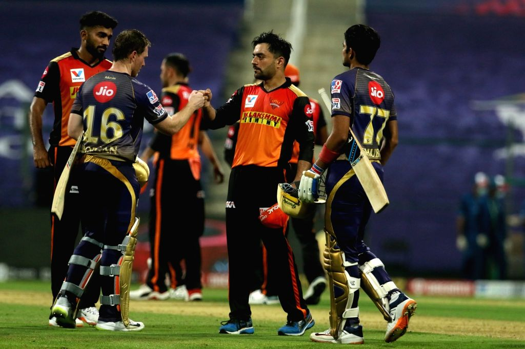 Abu Dhabi: Eoin Morgan of Kolkata Knight Riders and Shubman Gill of Kolkata Knight Riders shake hands with Sunrisers Hyderabad players after the match 8 of season 13 of the Dream 11 Indian Premier ...