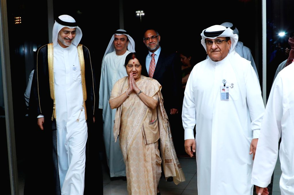Abu Dhabi: External Affairs Minister Sushma Swaraj being received on her arrival in Abu Dhabi, on Dec 3, 2018. - Sushma Swaraj