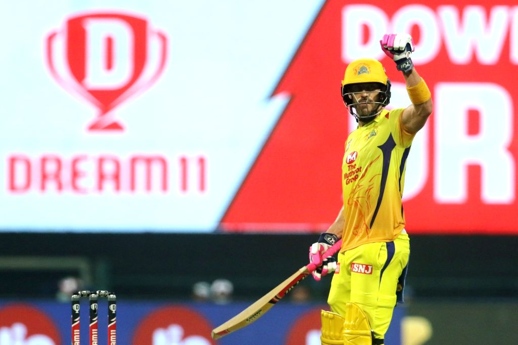 Abu Dhabi: Faf du Plessis of Chennai Superkings raises his hand after scoring a fifty during match 1 of season 13 of the Dream 11 Indian Premier League (IPL) between the Mumbai Indians and the ...