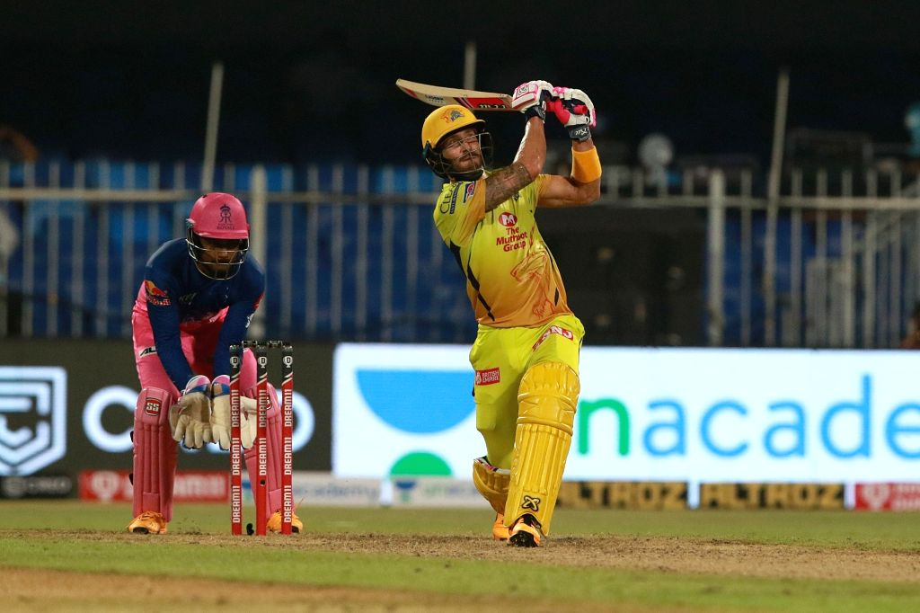 Abu Dhabi: Faf du Plessis of CSK plays a shot during match 4 of season 13 of the Indian Premier League (IPL) between Rajasthan Royals and Chennai Super Kings held at the Sharjah Cricket Stadium, ...