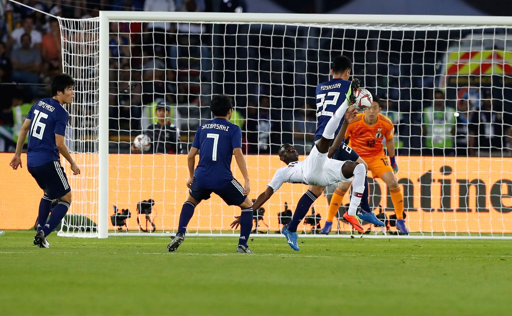 ABU DHABI, Feb. 1, 2019 - Almoez Ali (3rd L) of Qatar shoots to score during the final match between Japan and Qatar at the 2019 AFC Asian Cup in Abu Dhabi, the United Arab Emirates (UAE), Feb. 1, ...