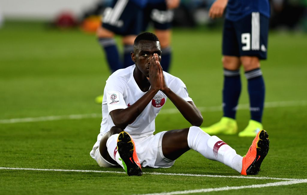 ABU DHABI, Feb. 1, 2019 - Almoez Ali of Qatar reacts during the final match between Japan and Qatar at the 2019 AFC Asian Cup in Abu Dhabi, the United Arab Emirates (UAE), Feb. 1, 2019.