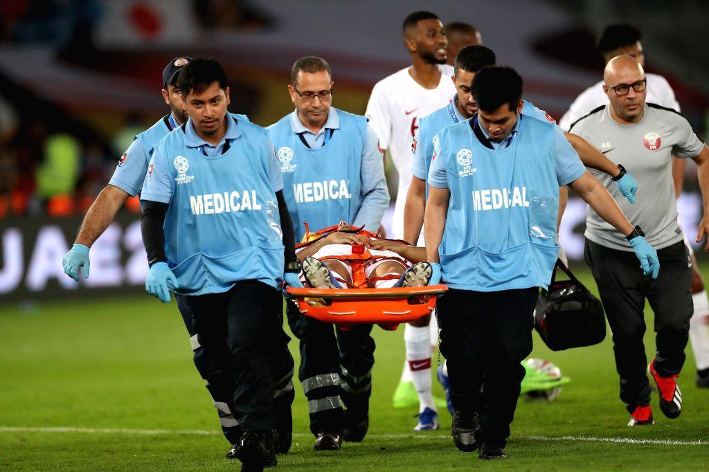 ABU DHABI, Feb. 1, 2019 - Boualem Khoukhi of Qatar hurts during the final match between Japan and Qatar at the 2019 AFC Asian Cup in Abu Dhabi, the United Arab Emirates (UAE), Feb. 1, 2019.
