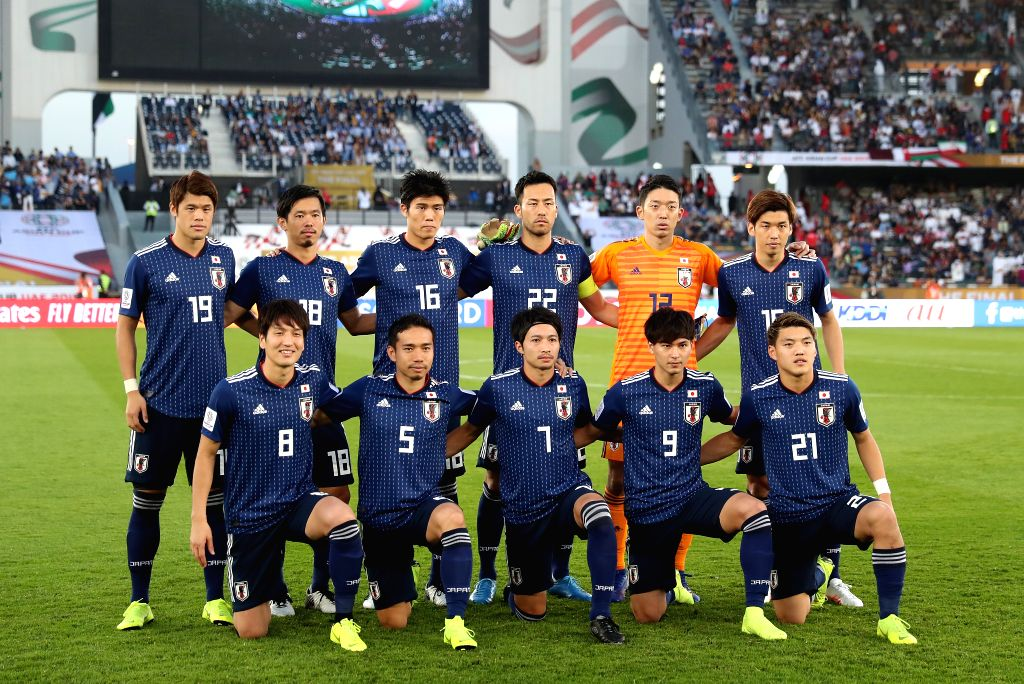 ABU DHABI, Feb. 1, 2019 - Players of Japan line up ahead of the final match between Japan and Qatar at the 2019 AFC Asian Cup in Abu Dhabi, the United Arab Emirates (UAE), Feb. 1, 2019.