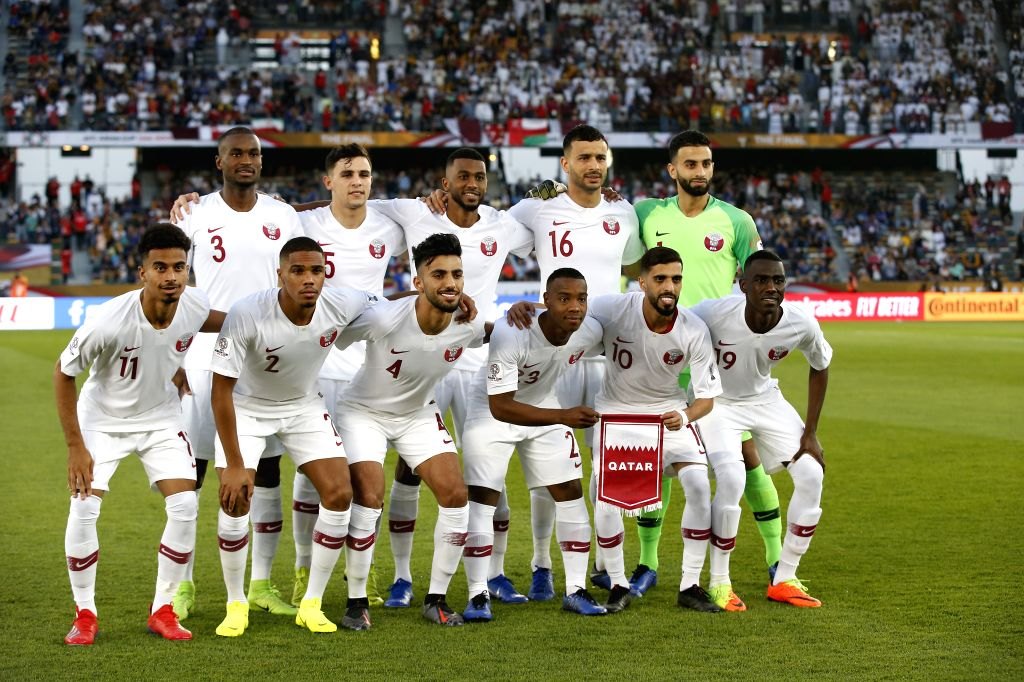 ABU DHABI, Feb. 1, 2019 - Players of Qatar line up ahead of the final match between Japan and Qatar at the 2019 AFC Asian Cup in Abu Dhabi, the United Arab Emirates (UAE), Feb. 1, 2019.