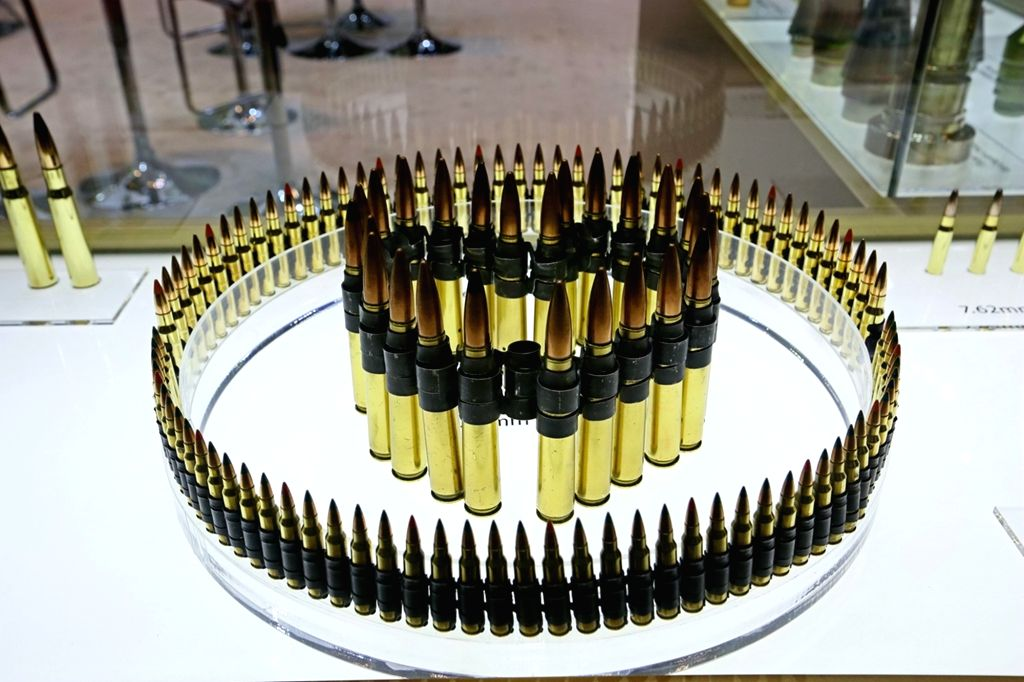 ABU DHABI, Feb. 18, 2019 - Bullets are displayed at an exhibition area of the International Defense Exhibition and Conference in Abu Dhabi, the United Arab Emirates, Feb. 17, 2019. The United Arab ...