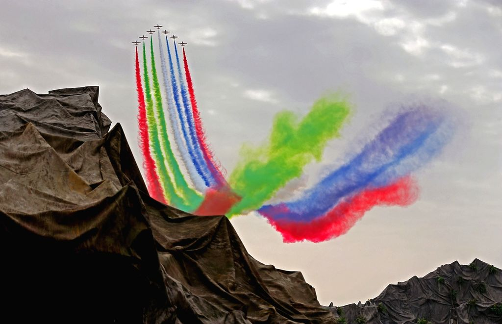 ABU DHABI, Feb. 20, 2019 - Aircrafts of the Al Fursan aerobatics demonstration team perform during an air show at the International Defense Exhibition and Conference (IDEX) in Abu Dhabi, the United ...