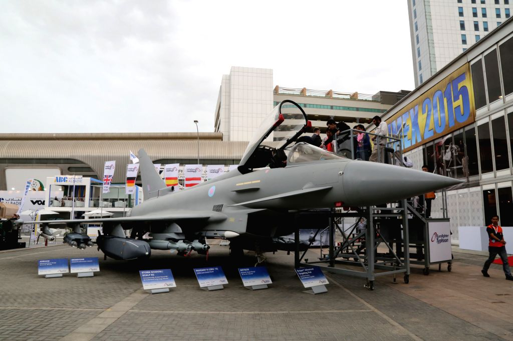 An European combat aircraft is seen during the International Defence Exhibition (IDEX) in Abu Dhabi, the United Arab Emirates, Feb. 22, 2015. The IDEX opened ...