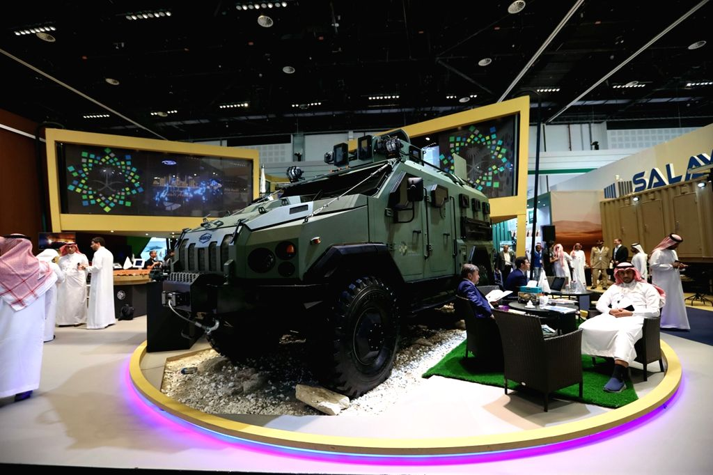 ABU DHABI, Feb. 22, 2019 - Defensive products are displayed at an exhibition area of the International Defense Exhibition and Conference in Abu Dhabi, the United Arab Emirates, Feb. 21, 2019. The ...