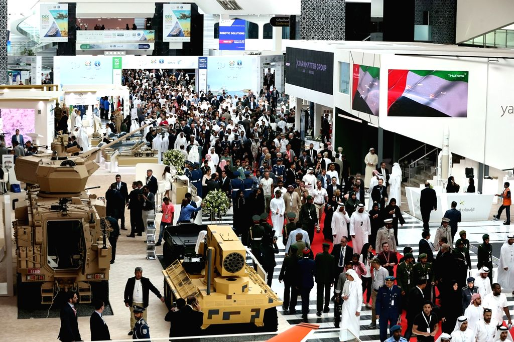 ABU DHABI, Feb. 22, 2019 - People visit an exhibition area of the International Defense Exhibition and Conference in Abu Dhabi, the United Arab Emirates, Feb. 21, 2019. The United Arab Emirates (UAE) ...
