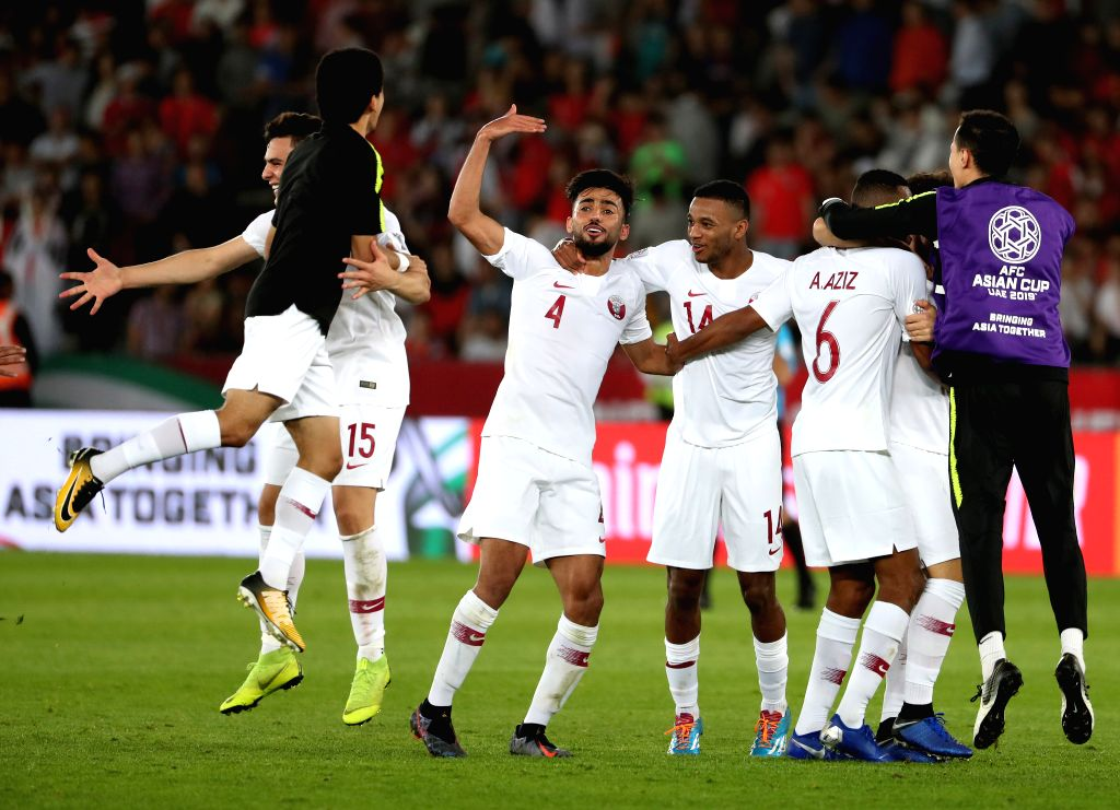 ABU DHABI, Jan. 25, 2019 - Players of Qatar celebrate winning the quarterfinal match between South Korea and Qatar at the 2019 AFC Asian Cup in Abu Dhabi, the United Arab Emirates (UAE), Jan. 25, ...