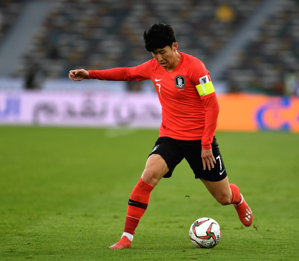 ABU DHABI, Jan. 25, 2019 - Son Hueng-min of South Korea competes during the quarterfinal match between South Korea and Qatar at the 2019 AFC Asian Cup in Abu Dhabi, the United Arab Emirates (UAE), ...