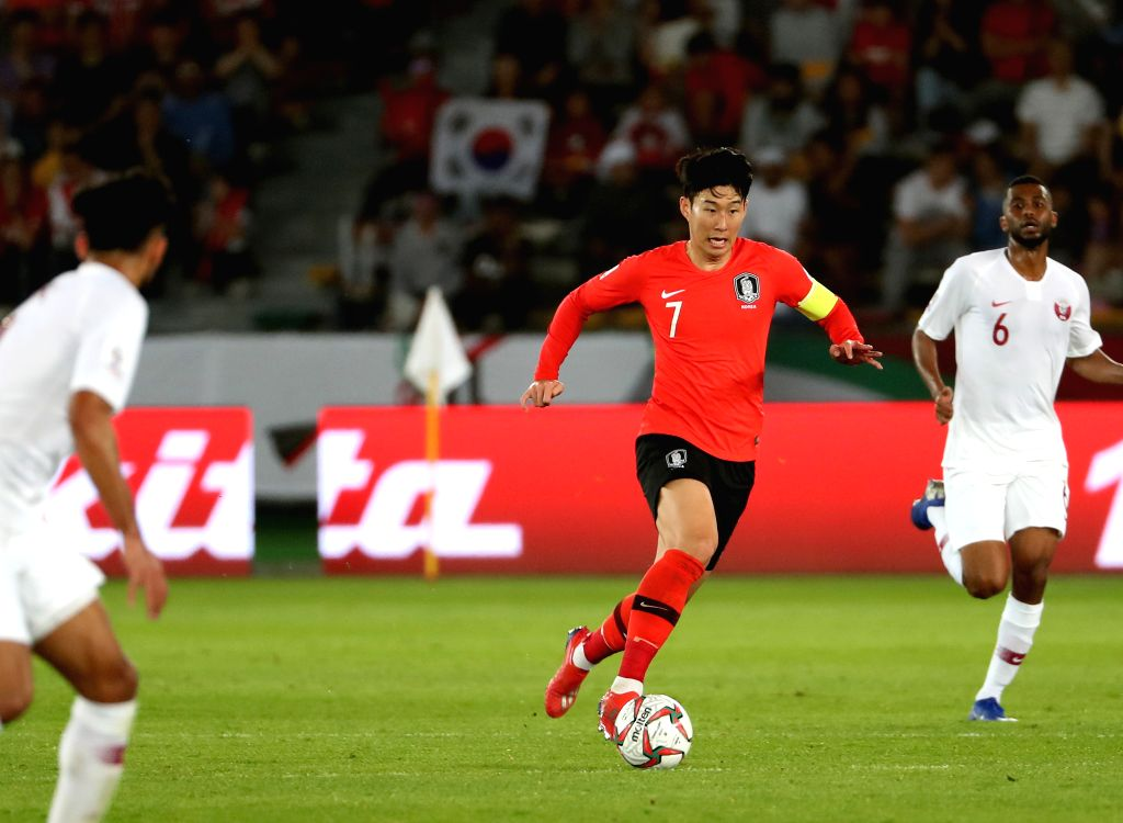 ABU DHABI, Jan. 25, 2019 - South Korea's Son Heung-Min (2nd R) competes during the quarterfinal match between South Korea and Qatar at the 2019 AFC Asian Cup in Abu Dhabi, the United Arab Emirates ...