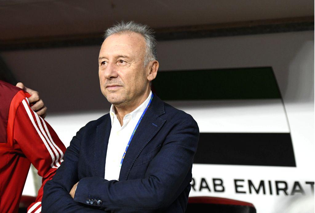 ABU DHABI, Jan. 29, 2019 - Alberto Zaccheroni, head coach of UAE reacts before the semifinal match between the United Arab Emirates and Qatar at the 2019 AFC Asian Cup in Abu Dhabi, the United Arab ...