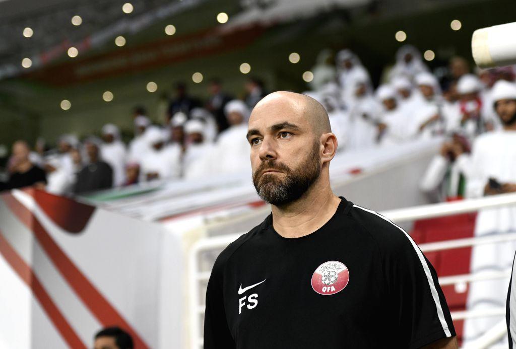ABU DHABI, Jan. 29, 2019 - Felix Sanchez Bas, head coach of Qatar reacts before the semifinal match between the United Arab Emirates and Qatar at the 2019 AFC Asian Cup in Abu Dhabi, the United Arab ...