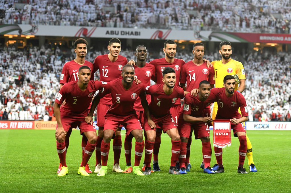 ABU DHABI, Jan. 29, 2019 - Players of Qatar line up before the semifinal match between the United Arab Emirates and Qatar at the 2019 AFC Asian Cup in Abu Dhabi, the United Arab Emirates (UAE), Jan. ...