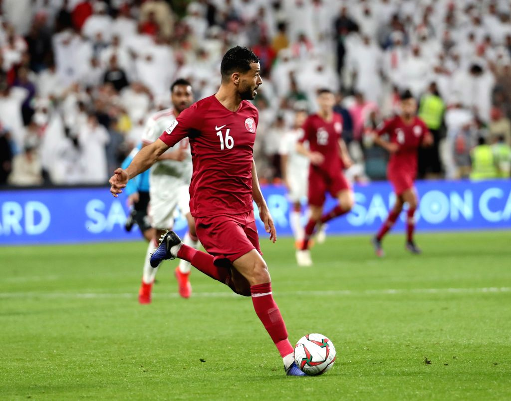 ABU DHABI, Jan. 29, 2019 - Qatar's Boualem Khoukhi competes during the semifinal match between the United Arab Emirates and Qatar at the 2019 AFC Asian Cup in Abu Dhabi, the United Arab Emirates ...