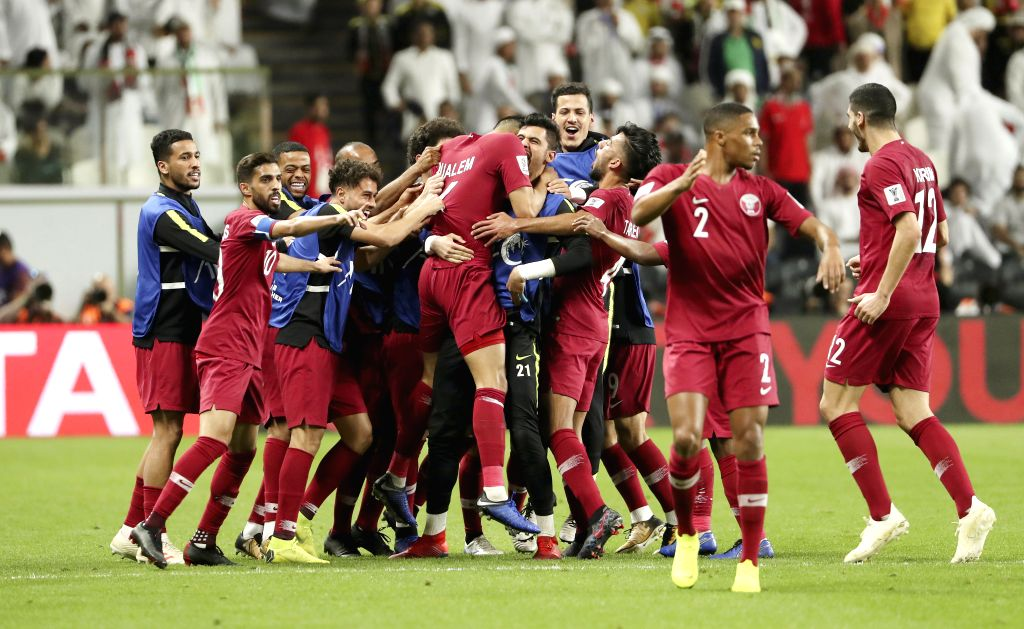 ABU DHABI, Jan. 29, 2019 - Qatar's players celebrate scoring during the semifinal match between the United Arab Emirates and Qatar at the 2019 AFC Asian Cup in Abu Dhabi, the United Arab Emirates ...