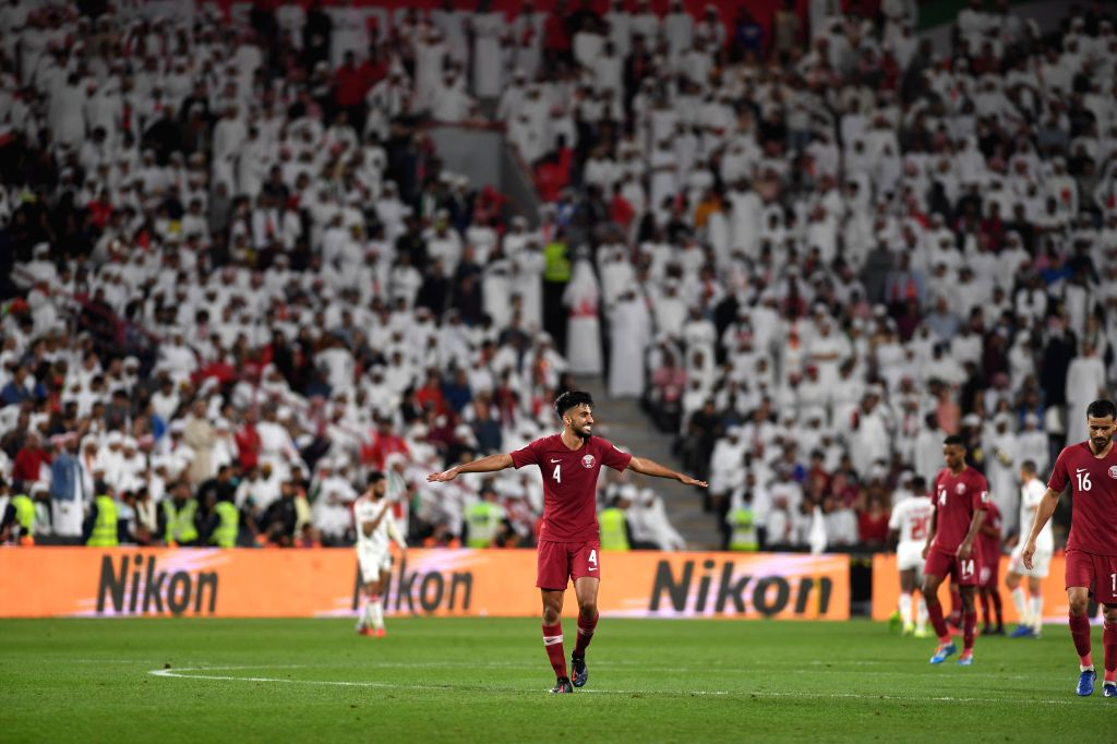 ABU DHABI, Jan. 29, 2019 - Qatar's Tarek Salman (C) celebrates during the semifinal match between the United Arab Emirates and Qatar at the 2019 AFC Asian Cup in Abu Dhabi, the United Arab Emirates ...