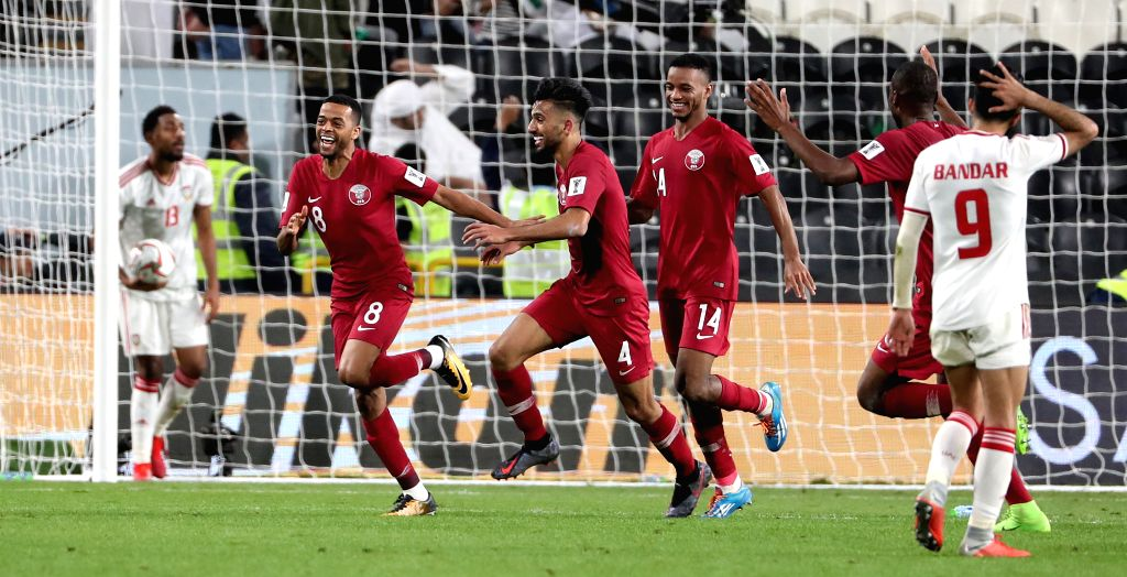 ABU DHABI, Jan. 30, 2019 - Qatar's players celebrate scoring during the semifinal match between the United Arab Emirates and Qatar at the 2019 AFC Asian Cup in Abu Dhabi, the United Arab Emirates ...